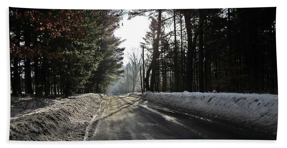 Morning Light Hand Towel featuring the photograph Morning Light On The Road by MTBobbins Photography