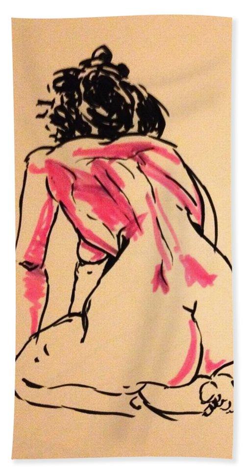 Brush Pen Bath Sheet featuring the drawing Morning Meditation by Reid Silvern