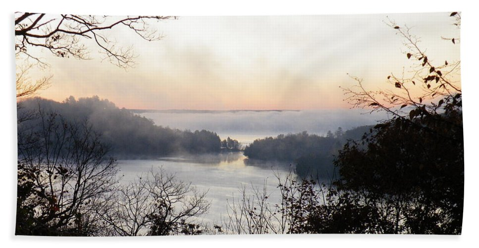 Landscape Hand Towel featuring the photograph Morning Mist by Davandra Cribbie