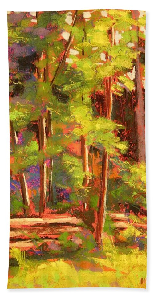 Landscape Hand Towel featuring the painting Morning On Beartree Road by Mary McInnis
