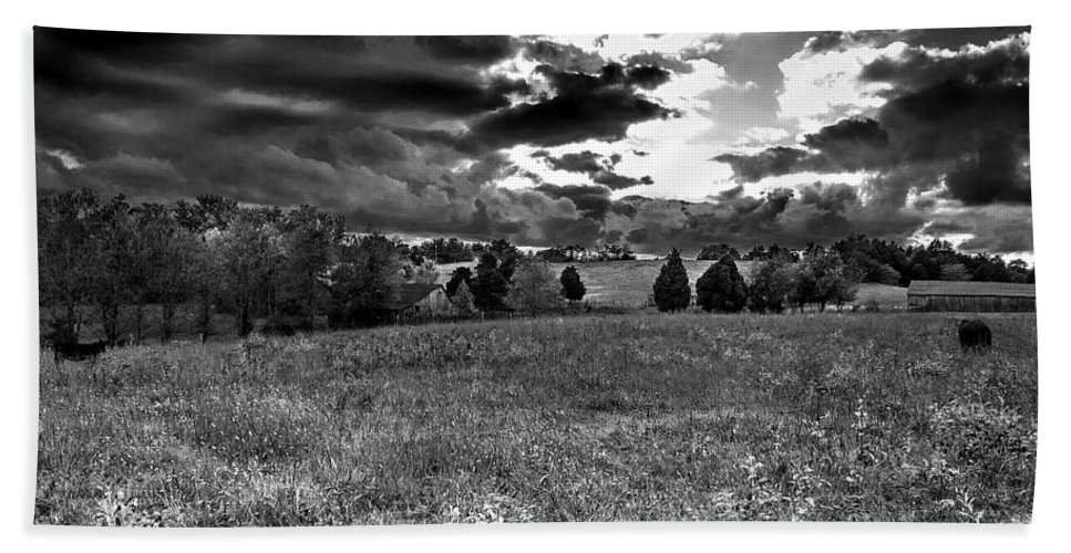 Landscape Hand Towel featuring the photograph Morning On The Farm Two Bw by Ken Frischkorn