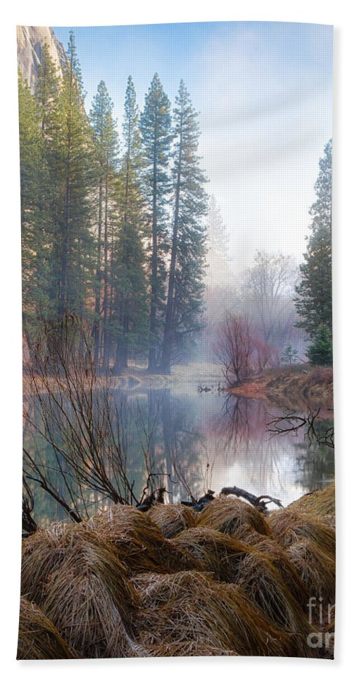 Yosemite Hand Towel featuring the photograph Morning On The Merced by Anthony Michael Bonafede
