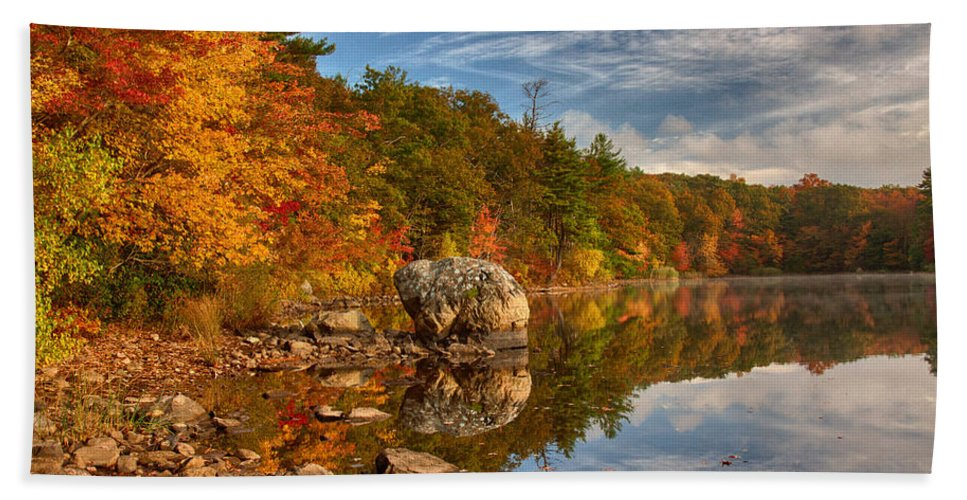 Autumn Foliage Bath Sheet featuring the photograph Morning Reflection Of Fall Colors by Jeff Folger