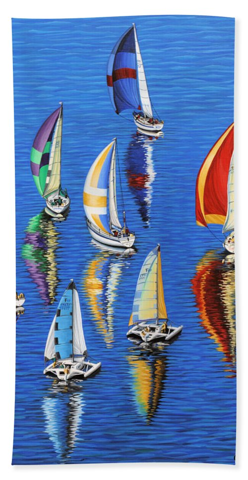 Ocean Hand Towel featuring the painting Morning Reflections by Jane Girardot