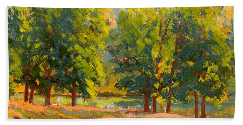 Impressionism Hand Towel featuring the painting Morning Through The Trees by Keith Burgess