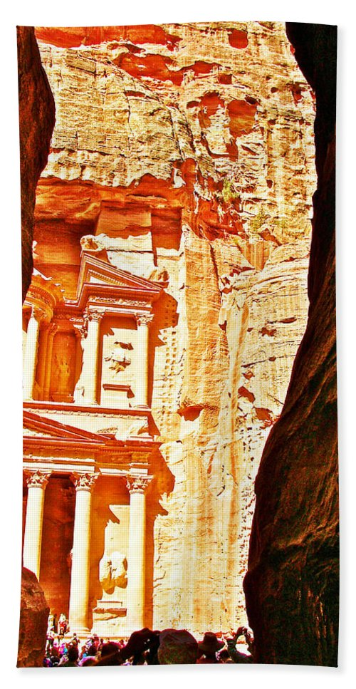 Morning View Of The Treasury From The Gorge In Petra Bath Sheet featuring the photograph Morning View Of The Treasury From The Gorge In Petra-jordan by Ruth Hager