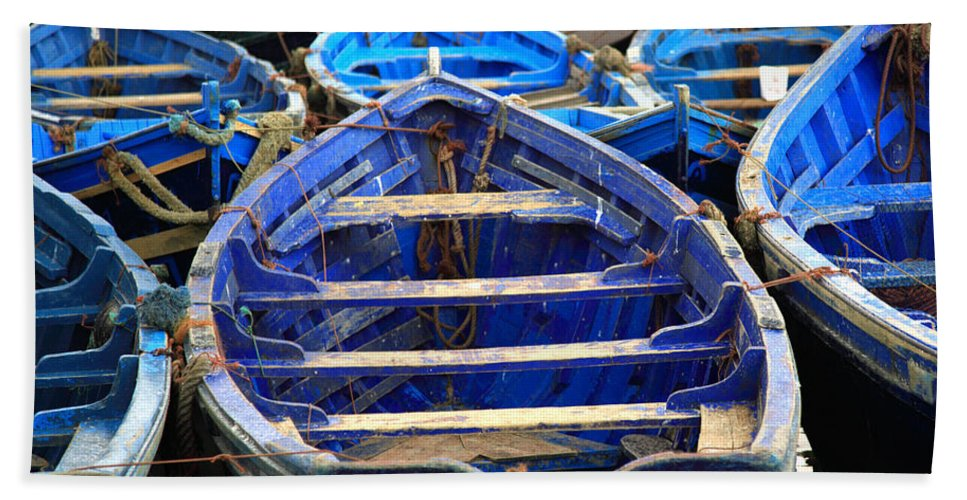 Morocco Bath Sheet featuring the photograph Moroccan Blue Fishing Boats by Deborah Benbrook