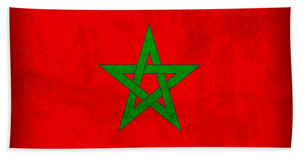 Morocco Hand Towel featuring the mixed media Morocco Flag Vintage Distressed Finish by Design Turnpike