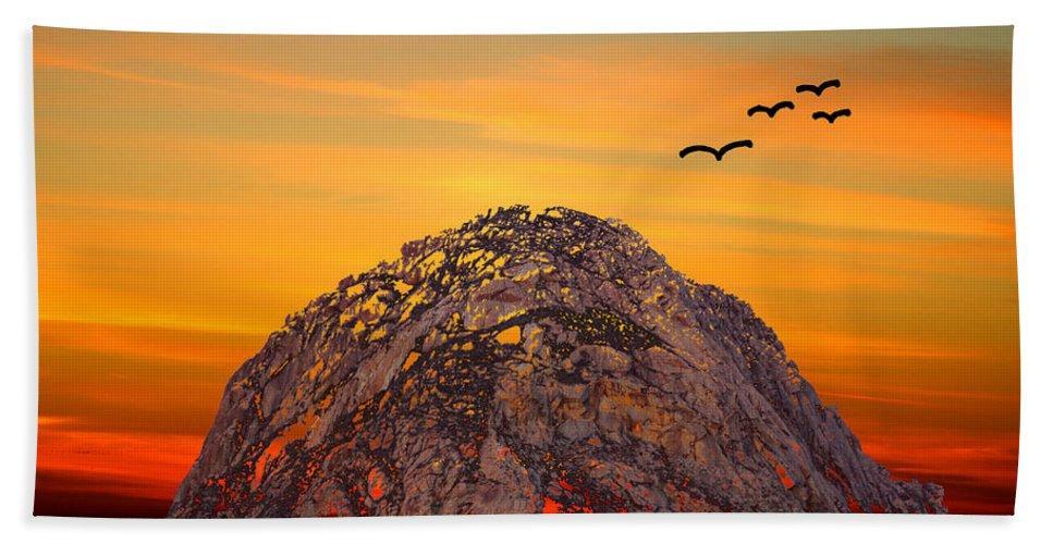 Barbara Snyder Hand Towel featuring the digital art Morro Rock 3007 by Barbara Snyder