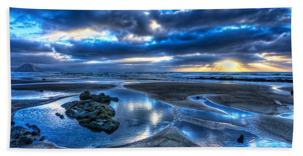 Morro Bay Bath Sheet featuring the photograph Morro Strand Reflections by Beth Sargent