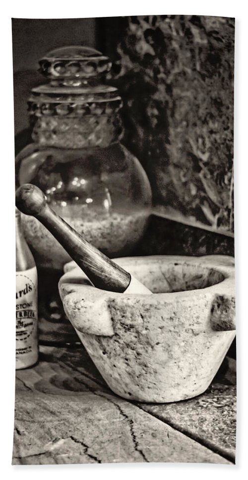 Pharmacy Hand Towel featuring the photograph Mortar And Pestle by Heather Applegate