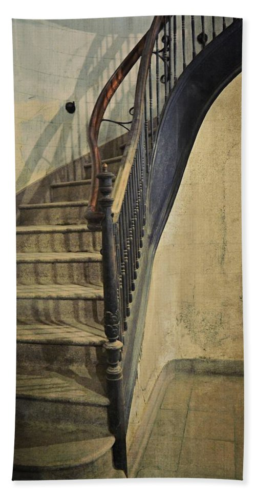 Morton Hotel Hand Towel featuring the photograph Morton Hotel Stairway by Michelle Calkins