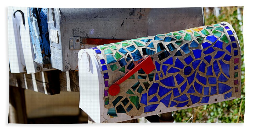 Mailboxes Hand Towel featuring the photograph Mosaic Mailbox On The Turquoise Trail In New Mexico by Catherine Sherman