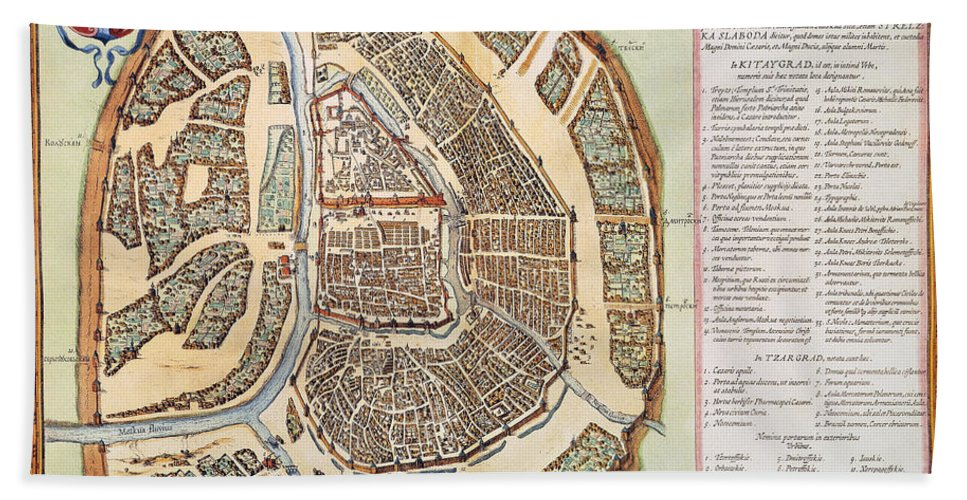 1662 Hand Towel featuring the photograph Moscow: Map, 1662 by Granger