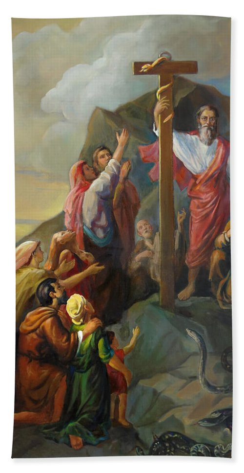 Moses Hand Towel featuring the painting Moses And The Brazen Serpent - Biblical Stories by Svitozar Nenyuk