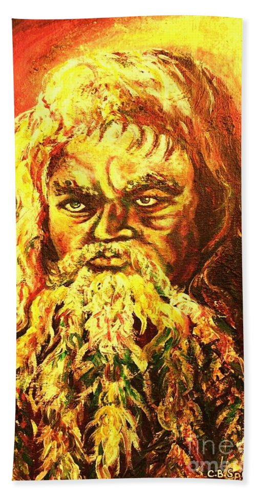 Moses Hand Towel featuring the painting Moses At The Burning Bush by Carole Spandau