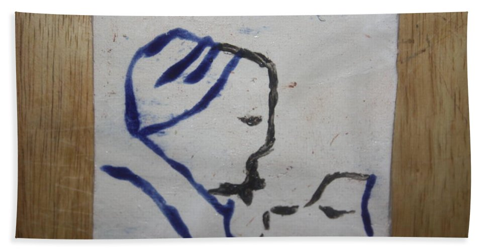 Jesus Bath Sheet featuring the ceramic art Moses - Tile by Gloria Ssali