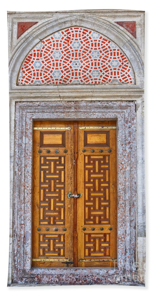 Door Bath Sheet featuring the photograph Mosque Doors 04 by Antony McAulay