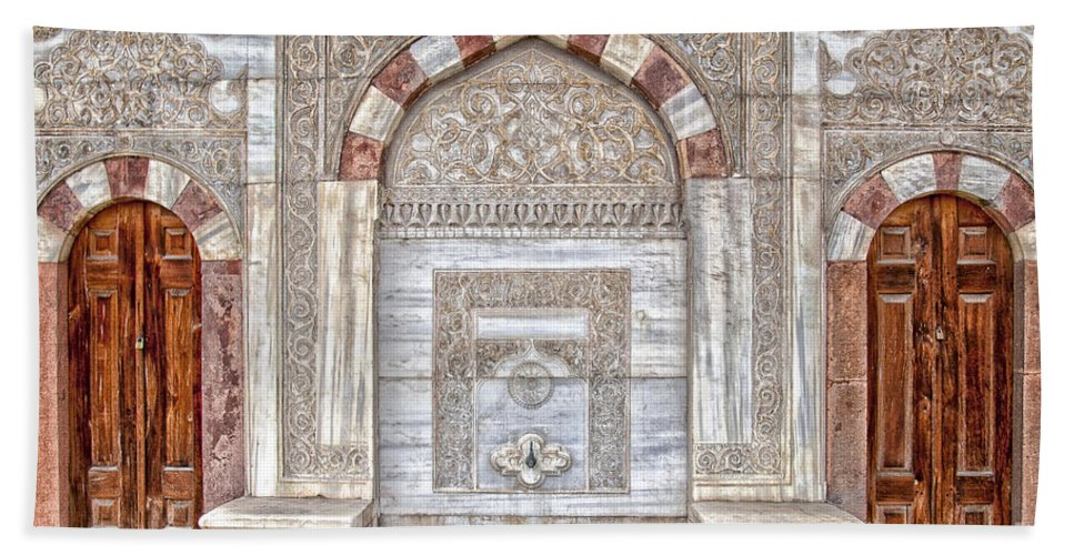 Hagia Hand Towel featuring the photograph Mosque Doors 10 by Antony McAulay