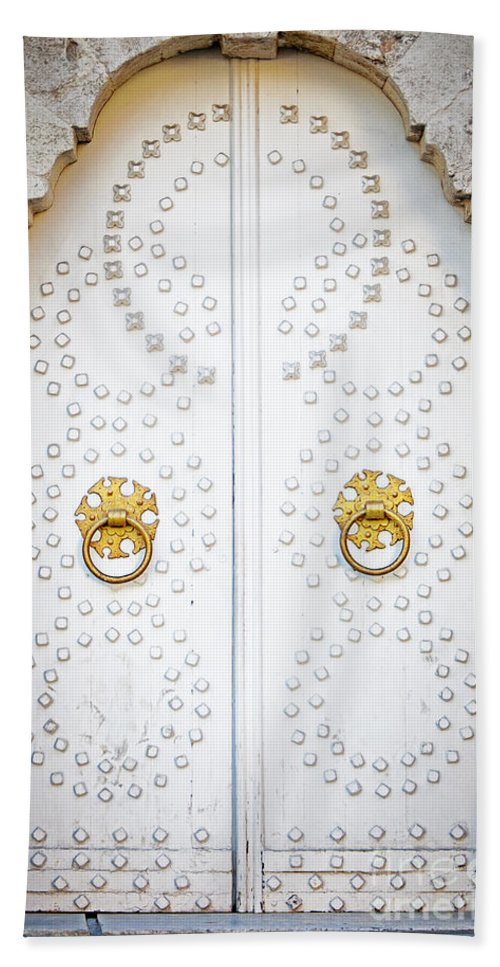 Door Hand Towel featuring the photograph Mosque Doors 14 by Antony McAulay