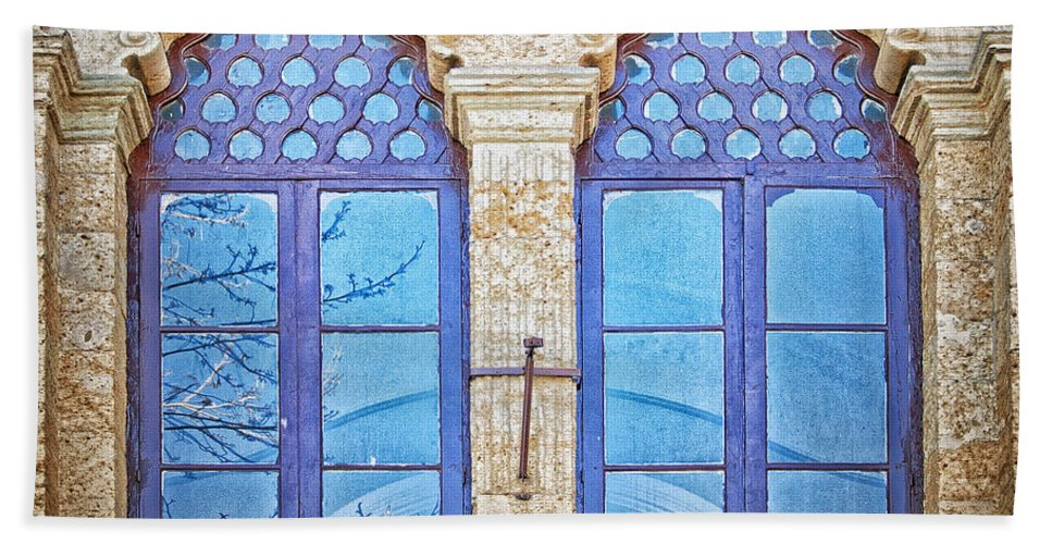 Mosque Hand Towel featuring the Mosque Windows 3 by Antony McAulay