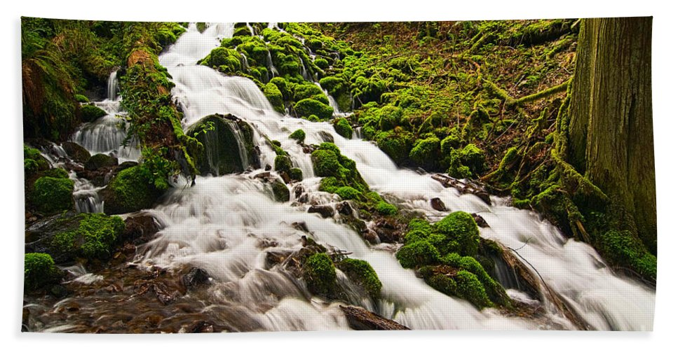 River Bath Sheet featuring the photograph Mossy River Flowing. by Jamie Pham
