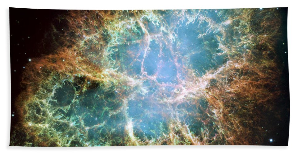 3scape Bath Towel featuring the photograph Most detailed image of the Crab Nebula by Adam Romanowicz