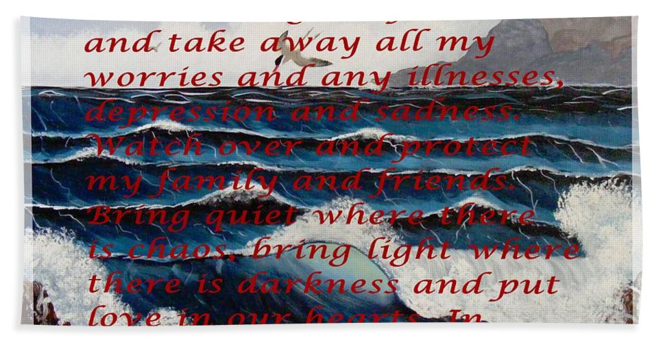 Most Powerful Prayer With Ocean Waves Bath Sheet featuring the mixed media Most Powerful Prayer With Ocean Waves by Barbara Griffin