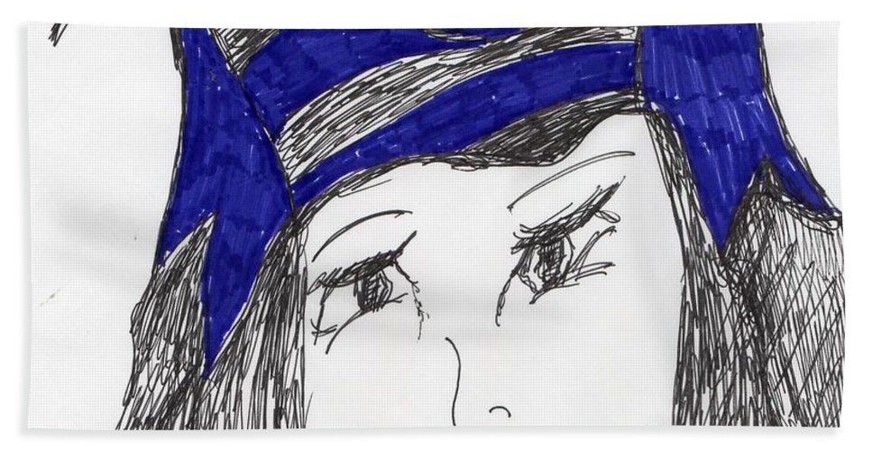 Black And Purple Hat Hand Towel featuring the mixed media Mostly Black by Elinor Rakowski