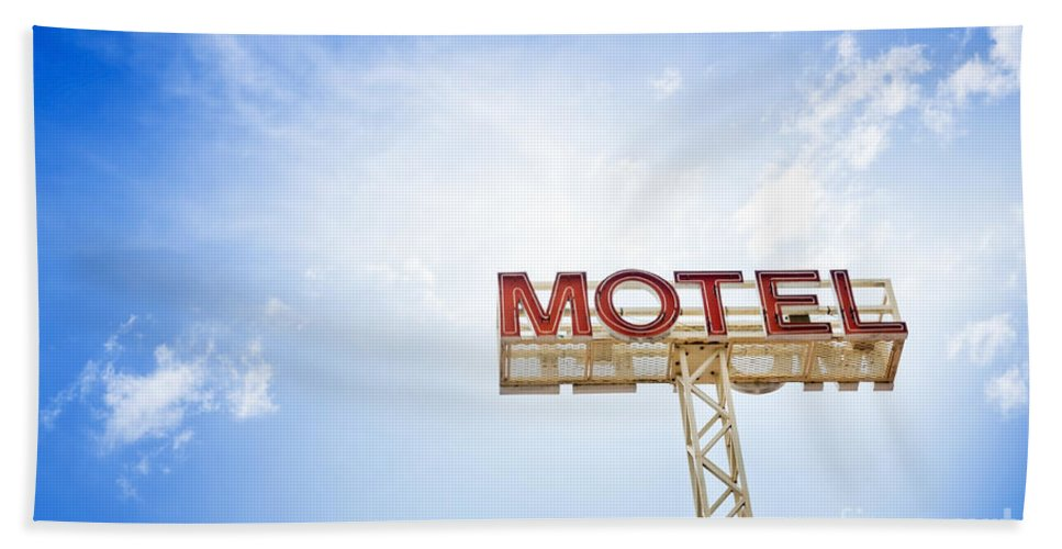 Abandoned Bath Sheet featuring the photograph Motel Sign by Tim Hester
