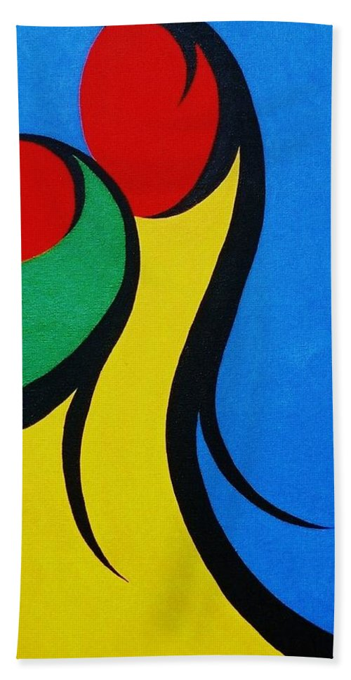Abstract Bath Towel featuring the painting Mother and Child by Micah Guenther