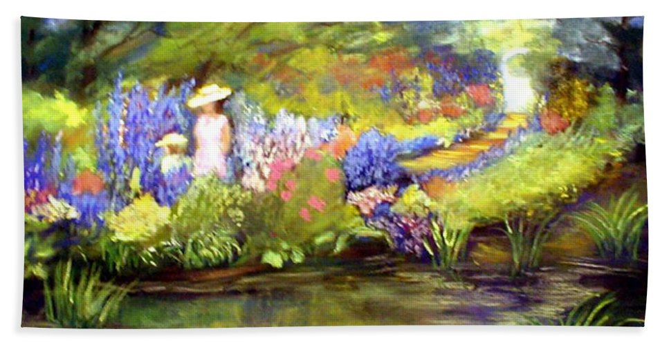 Flower Garden Bath Towel featuring the painting Mother And Daughter by Gail Kirtz
