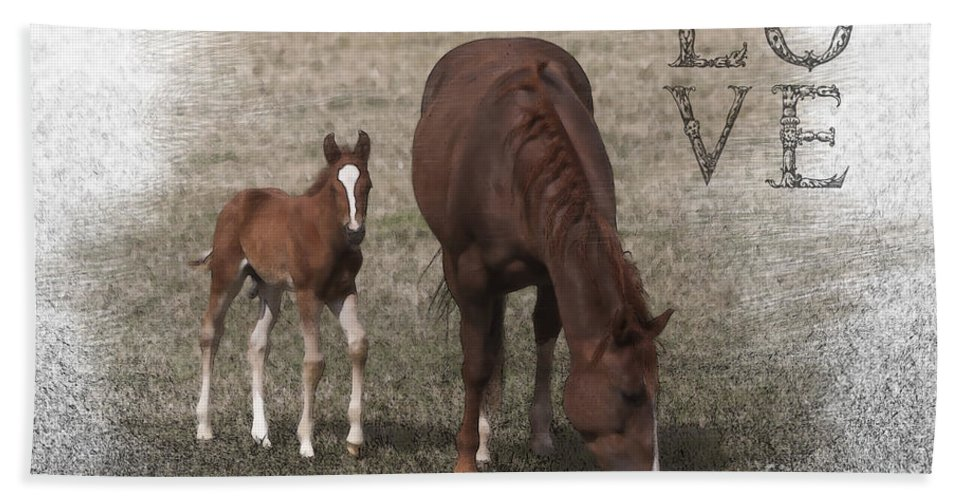 Horse Bath Sheet featuring the photograph Mother And Son Love by Janice Pariza