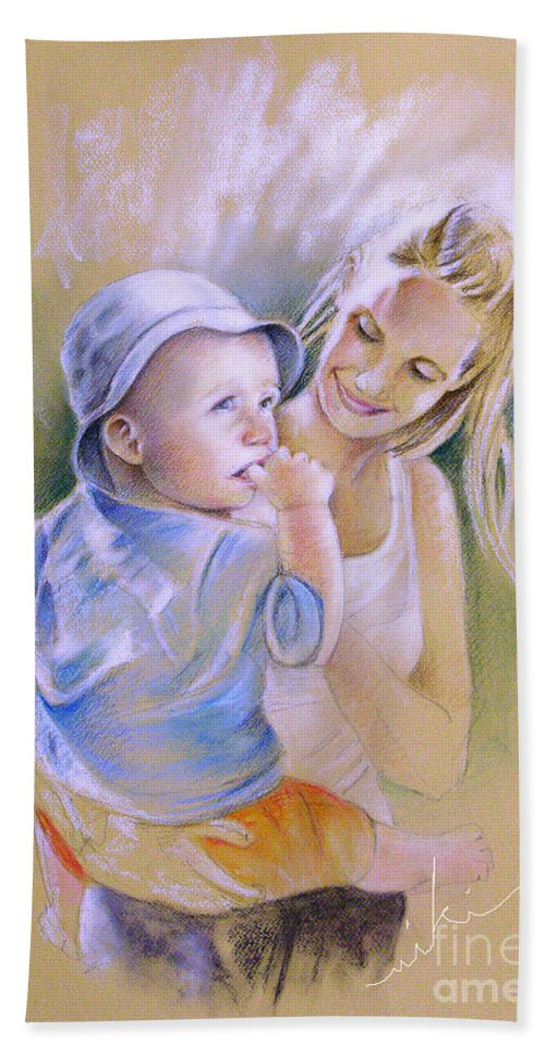 Portrait Hand Towel featuring the painting Mother And Son by Miki De Goodaboom