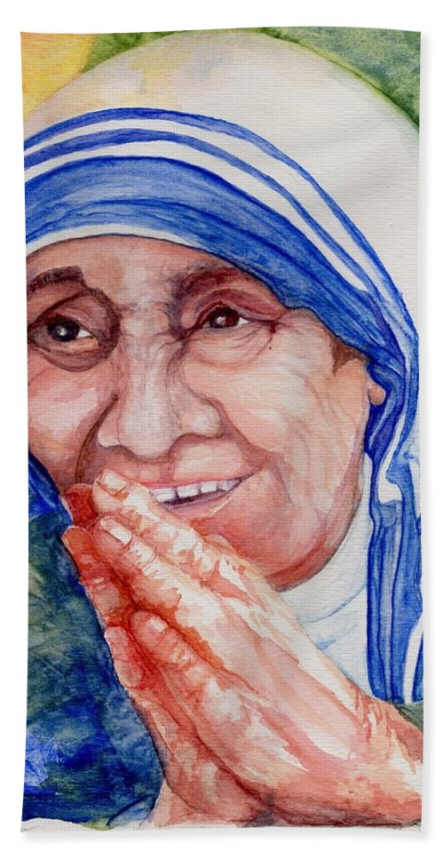 Elle Fagan Bath Towel featuring the painting Mother Teresa by Elle Smith Fagan