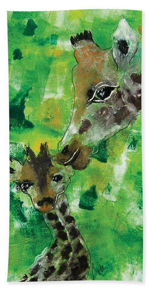 Giraffes Hand Towel featuring the mixed media Motherly Love by Cori Solomon