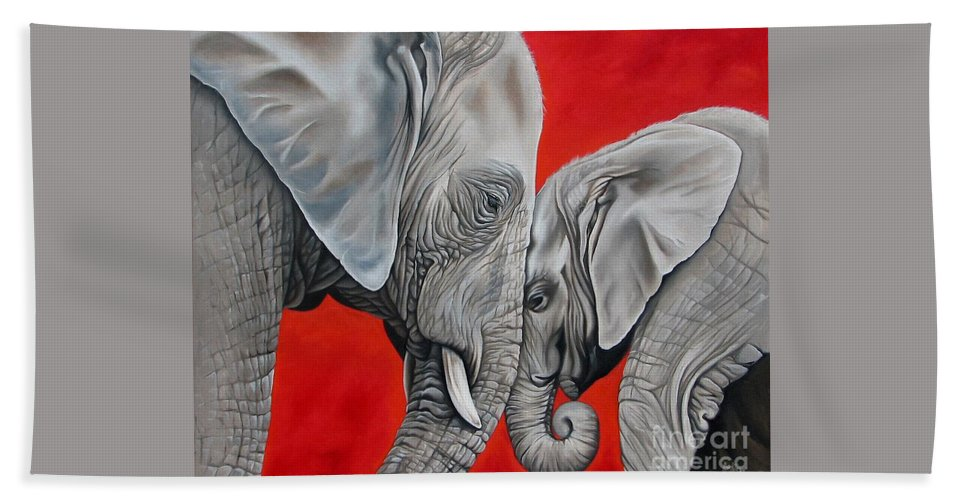 Elephant Bath Sheet featuring the painting Mothers Love by Ilse Kleyn