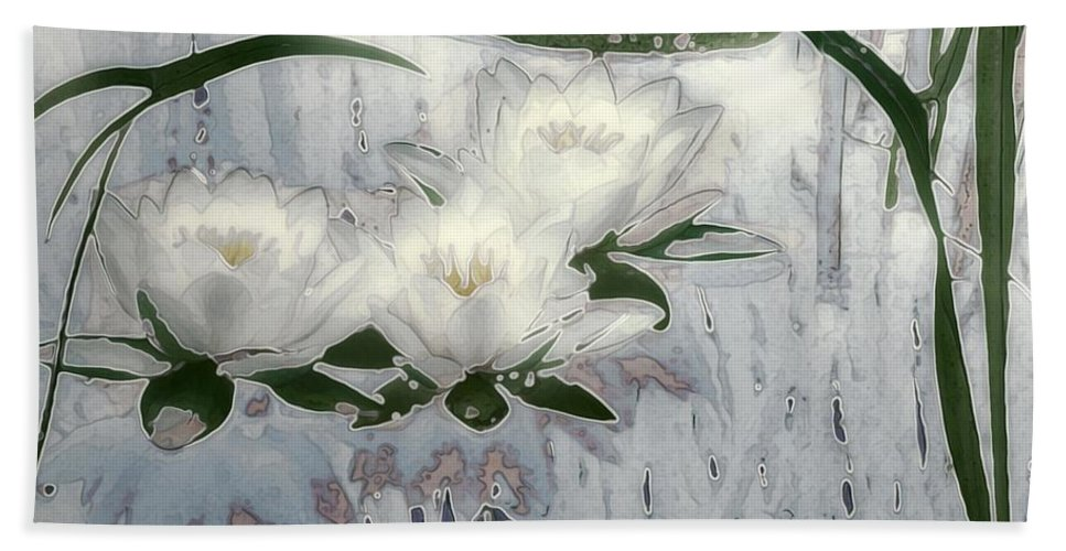 Asian Bath Sheet featuring the painting Motif Japonica No. 1 by RC DeWinter