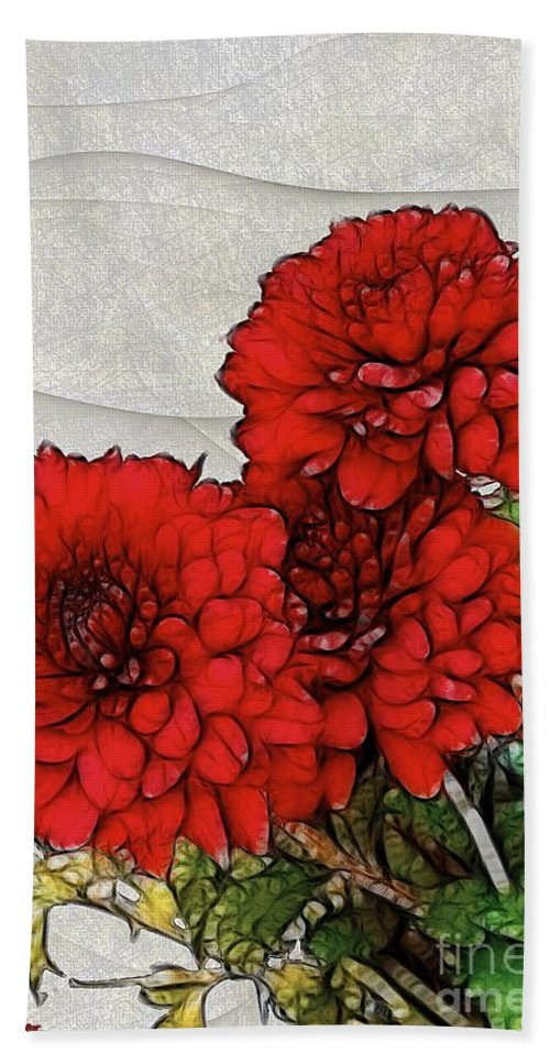 Chrysanthemums Bath Sheet featuring the painting Motif Japonica No. 7 by RC DeWinter