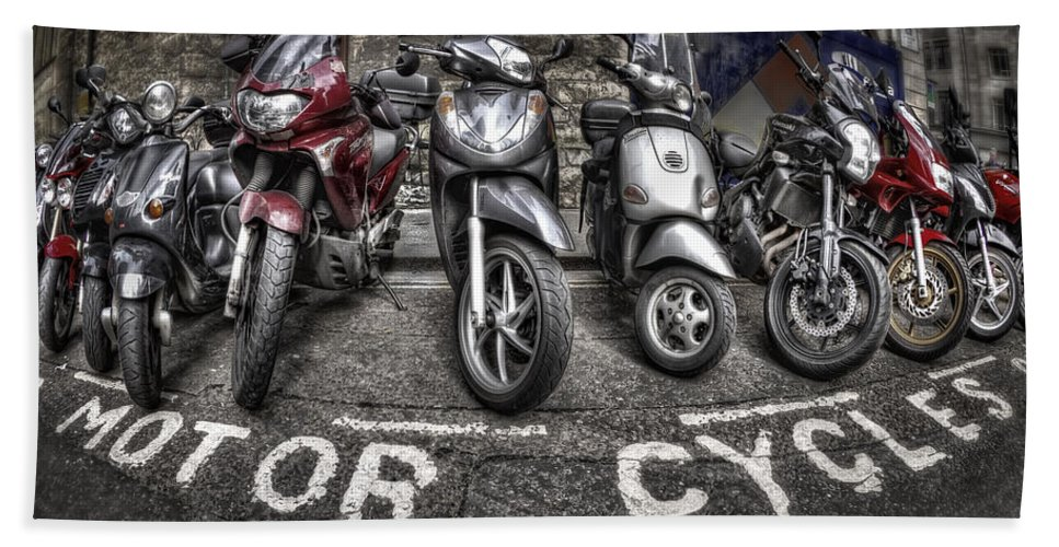 Motorcycle Hand Towel featuring the photograph Motor Cycles by Evelina Kremsdorf