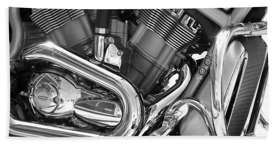 Motorcycles Bath Towel featuring the photograph Motorcycle Close-up Bw 1 by Anita Burgermeister