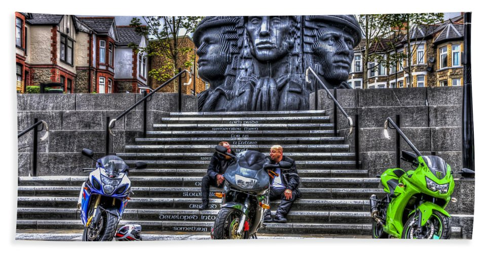 Rhymney Valley Tt Bath Sheet featuring the photograph Motorcycle Rally 4 by Steve Purnell