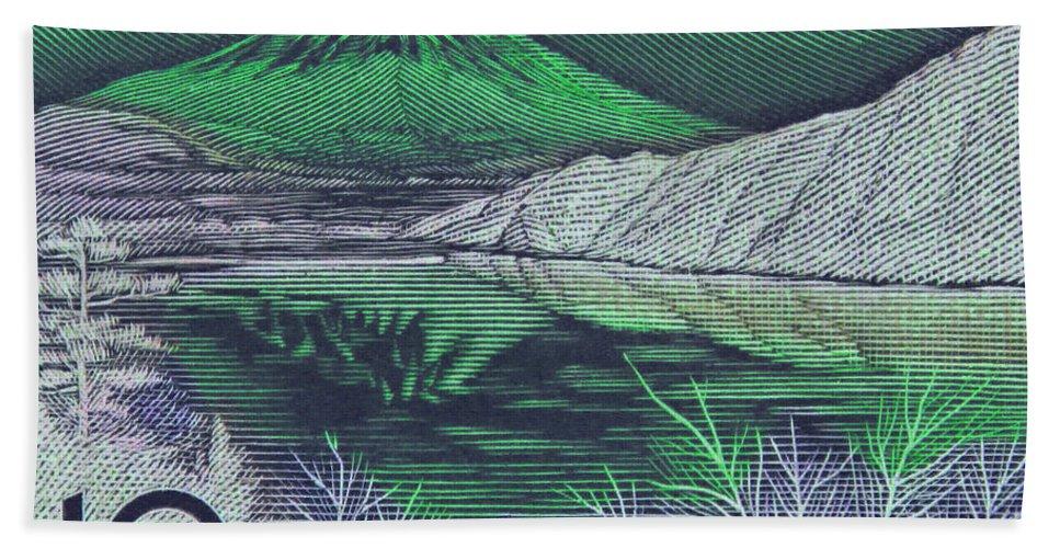 Mount Fuji Bath Sheet featuring the photograph Mount Fuji In Green by Andy Prendy