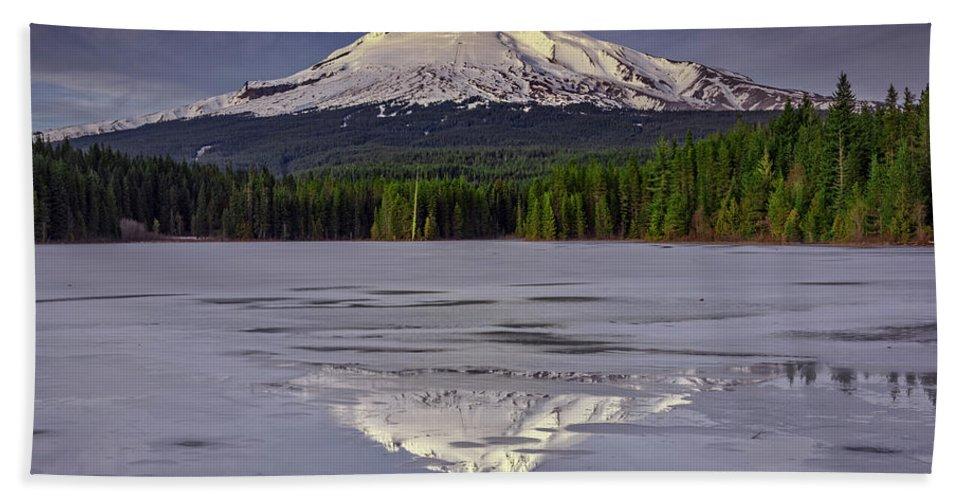 Mount Hood Bath Sheet featuring the photograph Mount Hood Reflections by Rick Berk