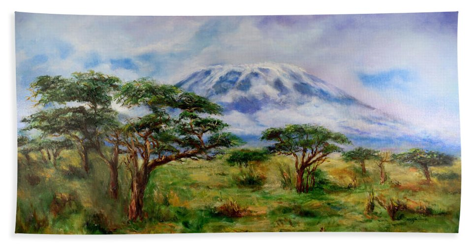 Mount Kilimanjaro Hand Towel featuring the painting Mount Kilimanjaro Tanzania by Sher Nasser