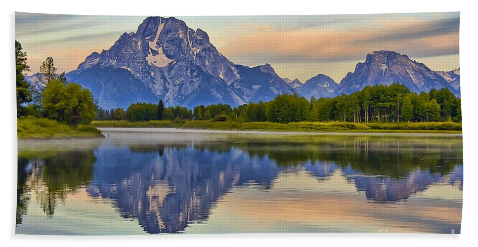 Oxbow Bend Bath Sheet featuring the photograph Mount Moran At Sunrise by Teresa Zieba