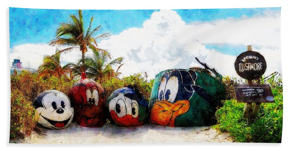 Disney Hand Towel featuring the painting Mount Rustmore Castaway Cay by Sandy MacGowan