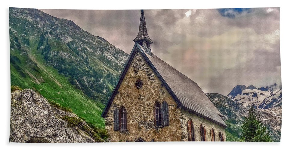 Switzerland Hand Towel featuring the photograph Mountain Chapel by Hanny Heim