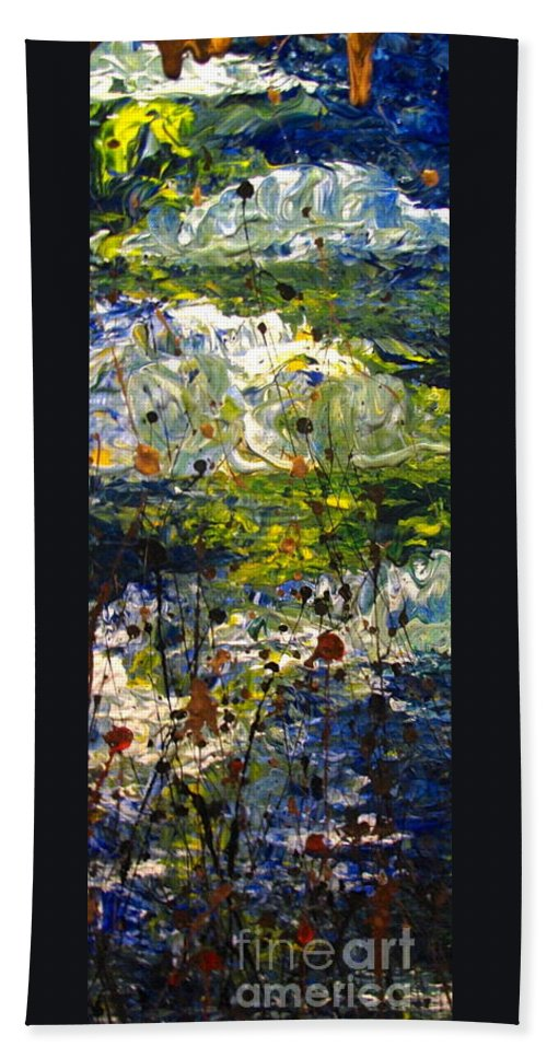 Water Bath Sheet featuring the painting Mountain Creek by Jacqueline Athmann
