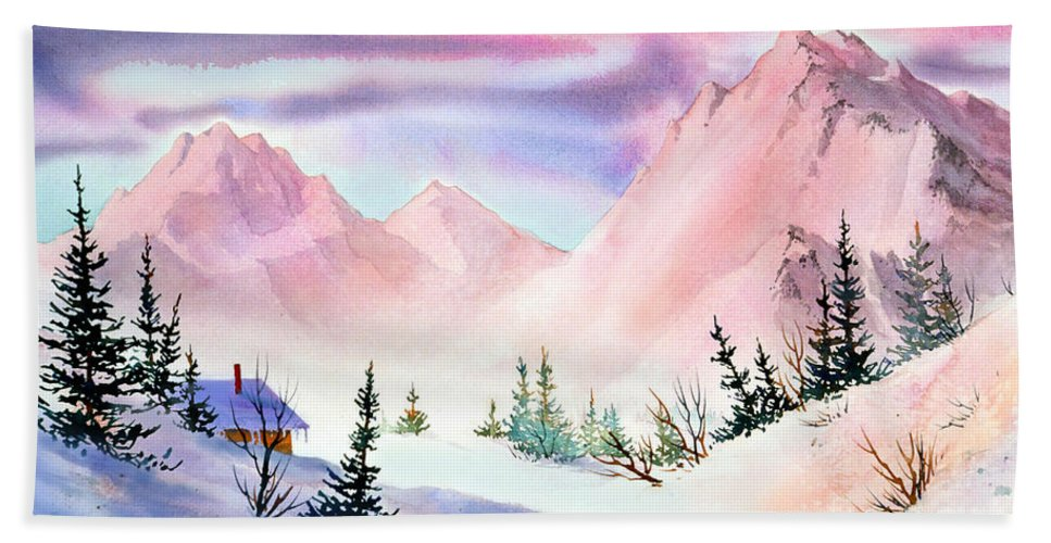 Mountain Glow Hand Towel featuring the painting Mountain Glow by Teresa Ascone